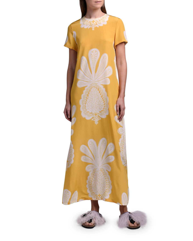 Double J Printed Long Silk Swing Dress