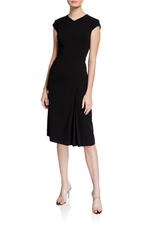 Escada Danehra Cap-Sleeve Crepe Dress