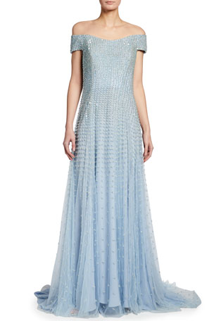 Escada Beaded Off-the-Shoulder Gown