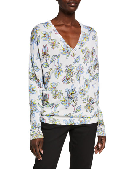 Escada Stunda Paisley Floral Print V-Neck Sweater