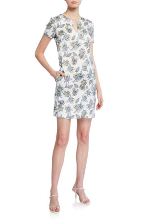 Escada Dsissas Paisley Floral Printed T-Shirt Dress
