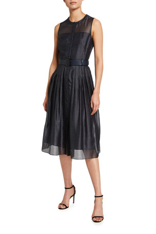 Akris punto Pin Dot Organza Sleeveless Belted Dress