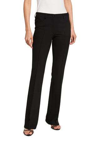 Akris punto Faye Pebbled-Crepe Straight-Leg Pants