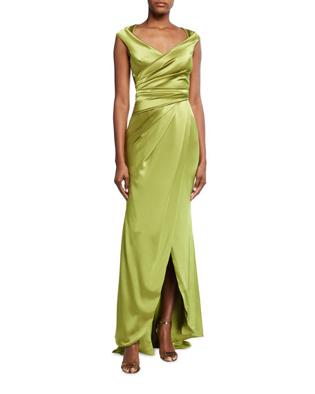 Talbot Runhof Towanda Wrapped Satin Column Gown