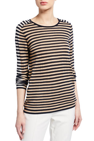 Akris punto Signature Stripe Wool Knit Pullover