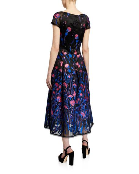 Talbot Runhof Poppy Field Silk Coupe Cap-Sleeve Dress