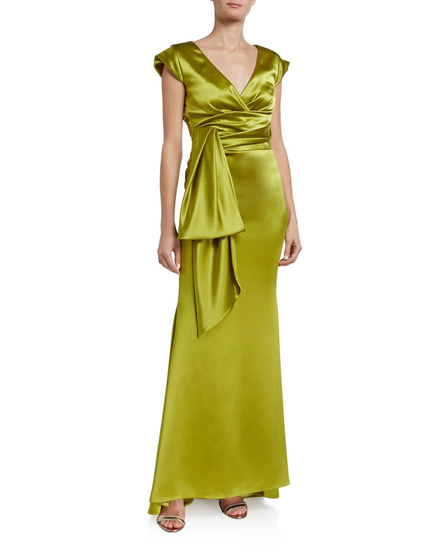 Talbot Runhof Shiny Crepe Satin V-Back Gown