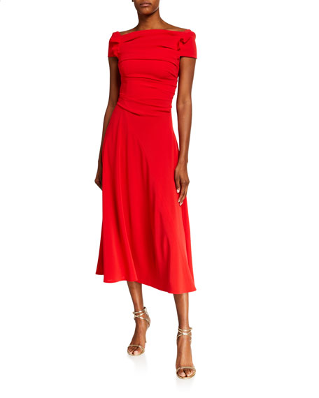 Image 1 of 2: Talbot Runhof Ruched Crepe Dress