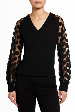 Akris punto V-Neck Polka Dot Embroidered Tulle-Sleeve Top