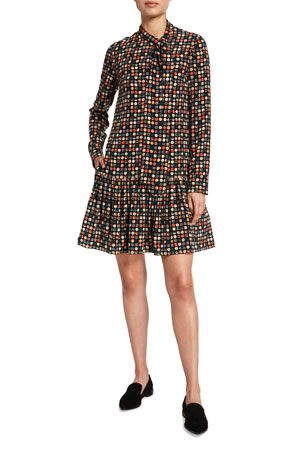 Akris punto Bow-Neck Mulberry Silk Dress