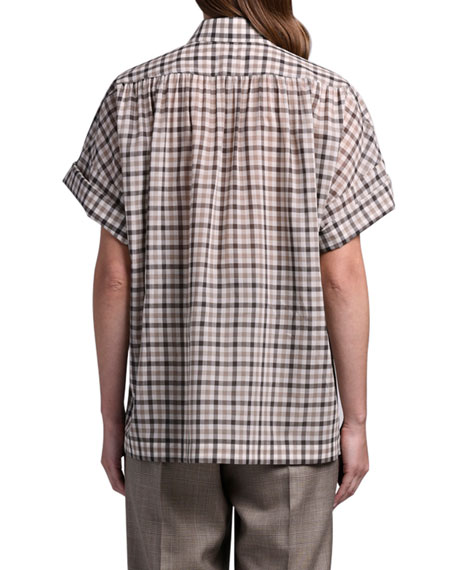 Agnona Checked Wool-Silk Shirt