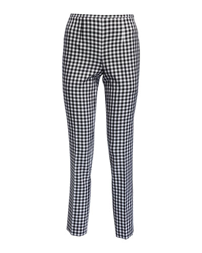 Cropped Straight-Leg Gingham Pants