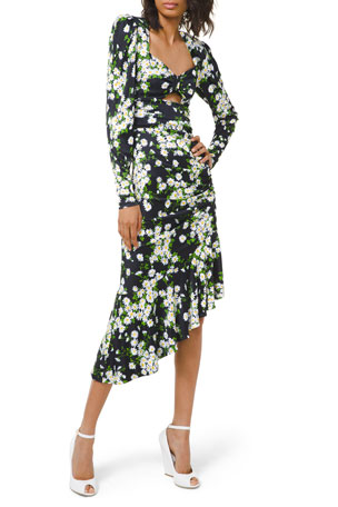 Michael Kors Collection Daisy Bouquet Ruched Jersey Asymmetric Dress