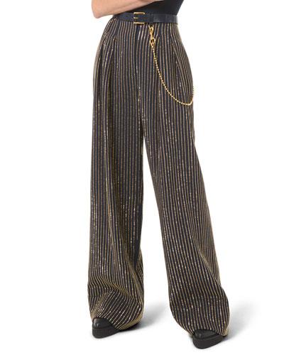 Crystal Pinstripe Wide-Leg Pants