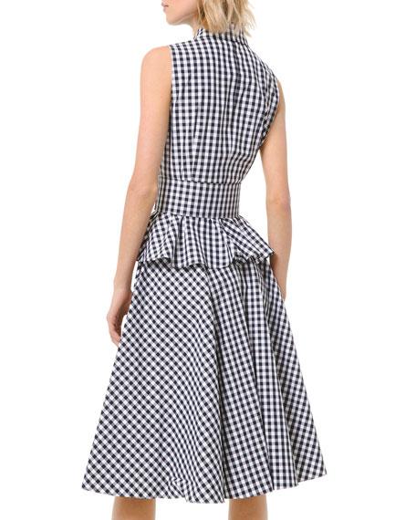 Michael Kors Collection Gingham Peplum Sleeveless Shirtdress with Belt