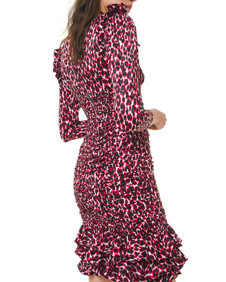Michael Kors Collection Small Animal-Print 3/4-Sleeve Mini Ruffle-Trim Dress
