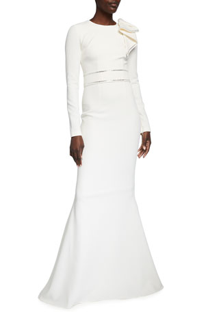 Safiyaa Long-Sleeve Heavy Crepe Embellished Gown
