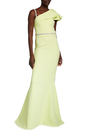 Safiyaa One-Shoulder Heavy Crepe Belted Gown