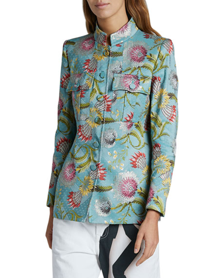 Dries Van Noten Flower Brocade Blazer, Blue