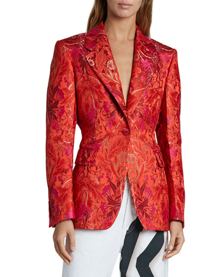 Dries Van Noten Flower Brocade Blazer, Red