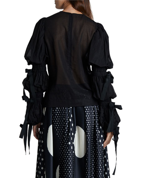 Image 2 of 2: Dries Van Noten Embellished Puff-Sleeve Blouse