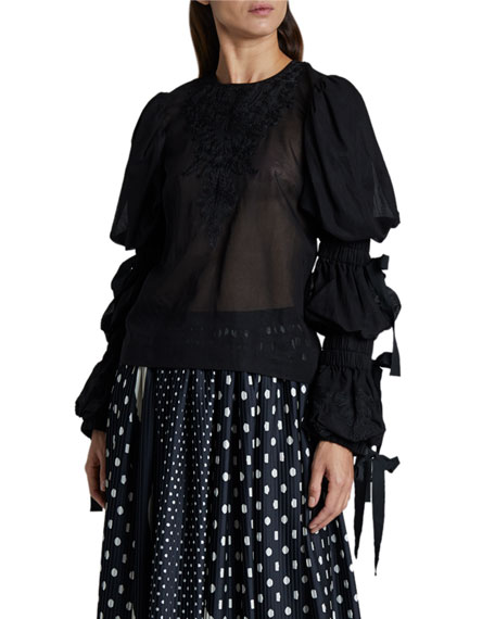 Image 1 of 2: Dries Van Noten Embellished Puff-Sleeve Blouse