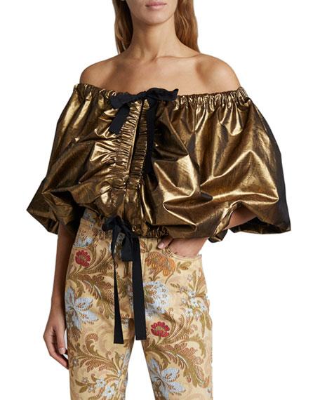 Dries Van Noten Cixi Metallic Off-the-Shoulder Puff-Sleeve Shirt
