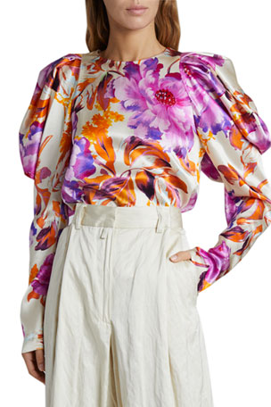 Dries Van Noten Coal Puff-Sleeve Floral Satin Top $1025.00