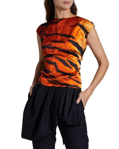 Dries Van Noten Sleeveless Tiger-Print Tie-Back Top
