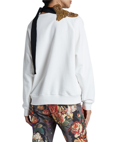 Image 2 of 3: Dries Van Noten Hebiso Metallic Embroidered Tie-Neck Sweater