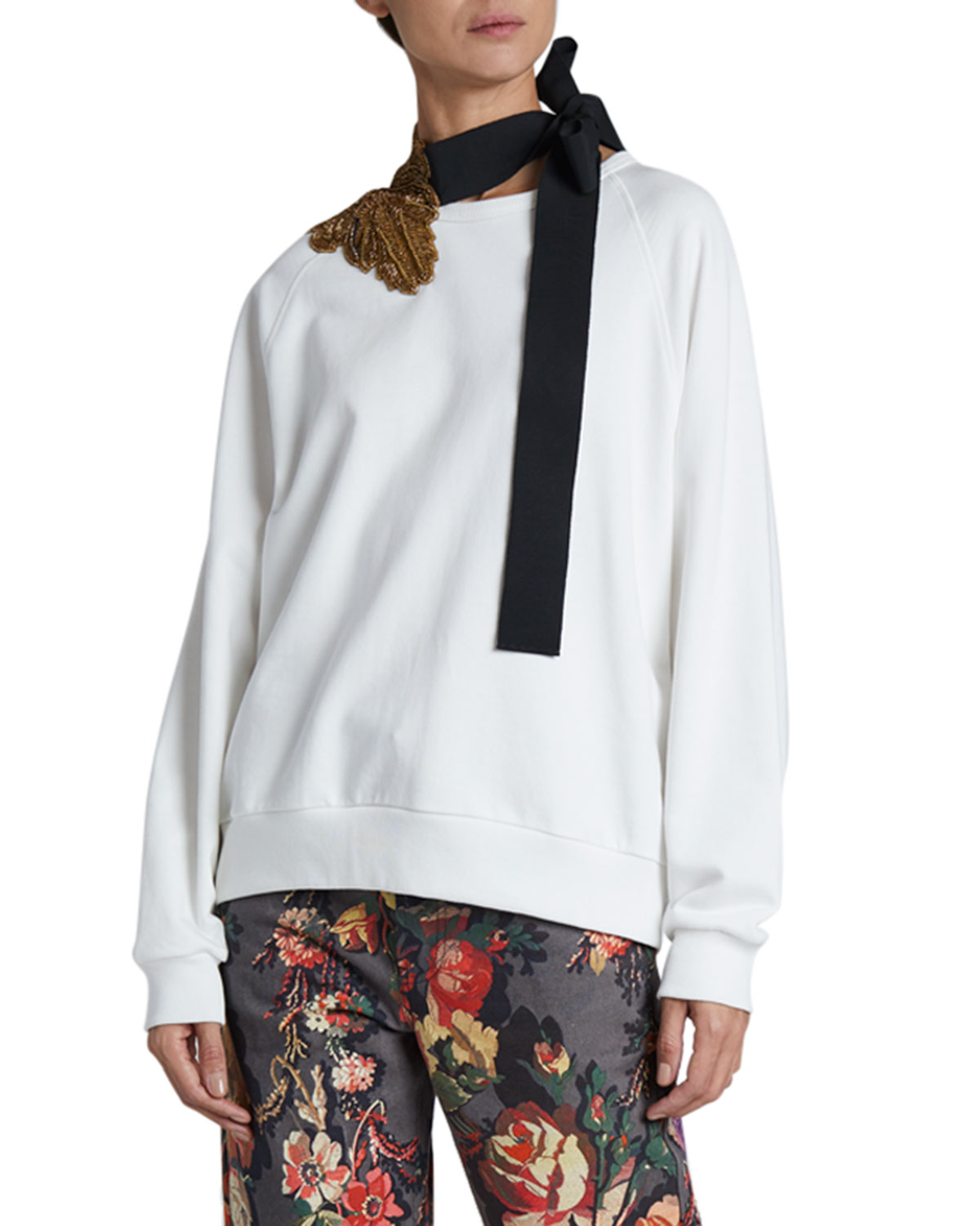 Dries Van Noten Hebiso Metallic Embroidered Tie-Neck Sweater