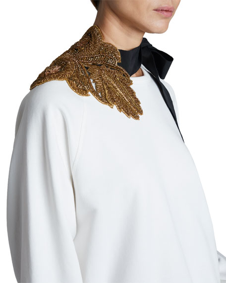 Image 3 of 3: Dries Van Noten Hebiso Metallic Embroidered Tie-Neck Sweater