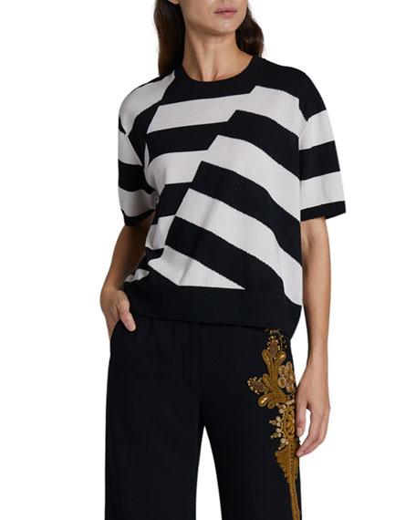 Dries Van Noten Jaslynn Striped Short-Sleeve Sweater