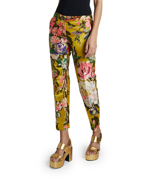Dries Van Noten Poumas Flower Brocade Pants
