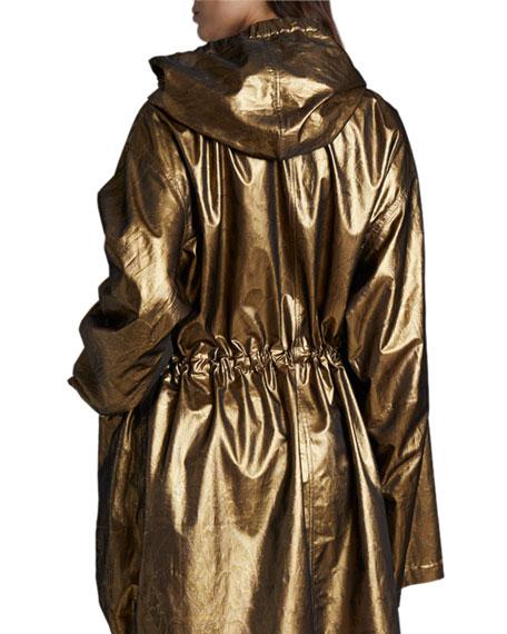 Dries Van Noten Reilly Long Metallic Raincoat
