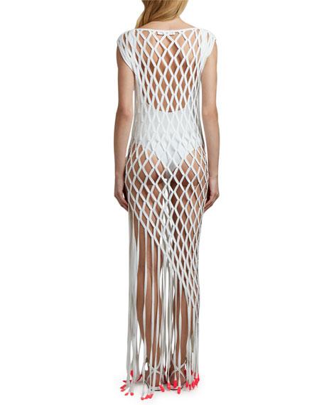 Off-White Open-Net Column Coverup Dress