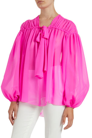 Giambattista Valli Shirred Silk Blouse $1710.00