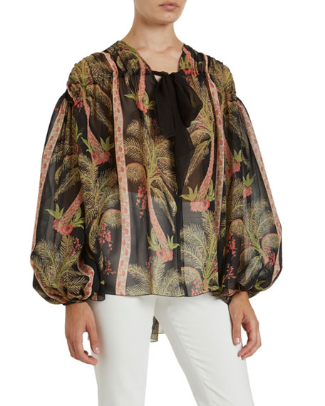 Image 3 of 3: Giambattista Valli Tropical Print Shirred Silk Blouse