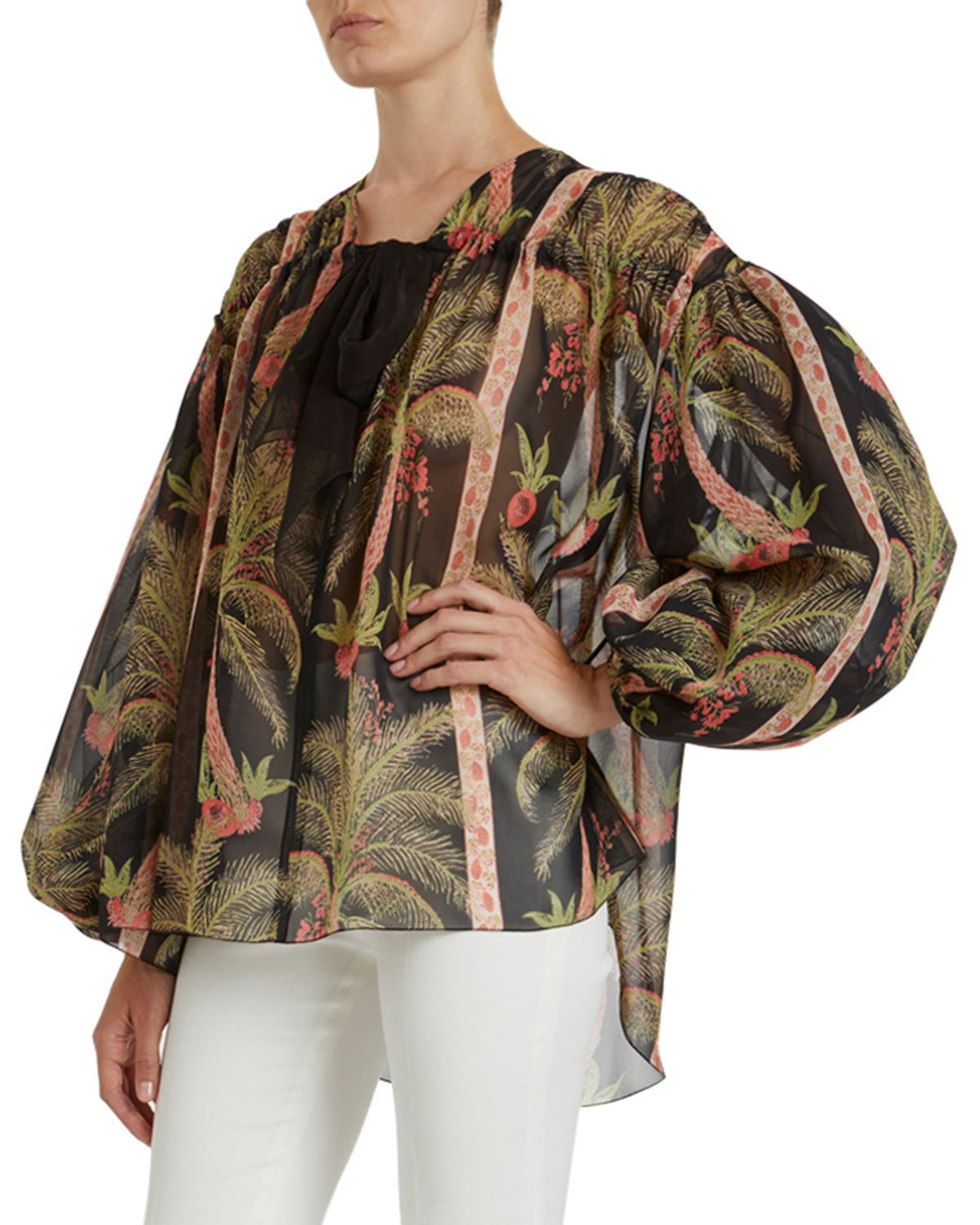 Giambattista Valli Tropical Print Shirred Silk Blouse