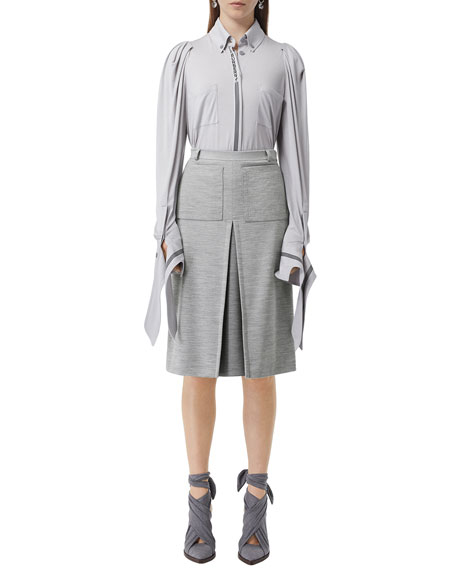 Image 3 of 5: Burberry Jersey A-Line Skirt