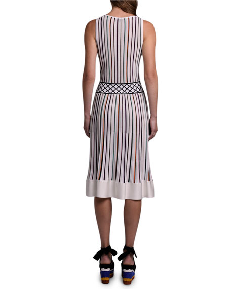 Missoni Striped Knit Deep-V Sleeveless Dress