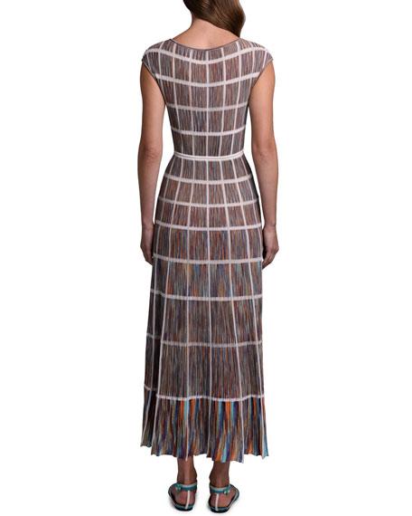 Missoni Windowpane Knit Cap-Sleeve Dress