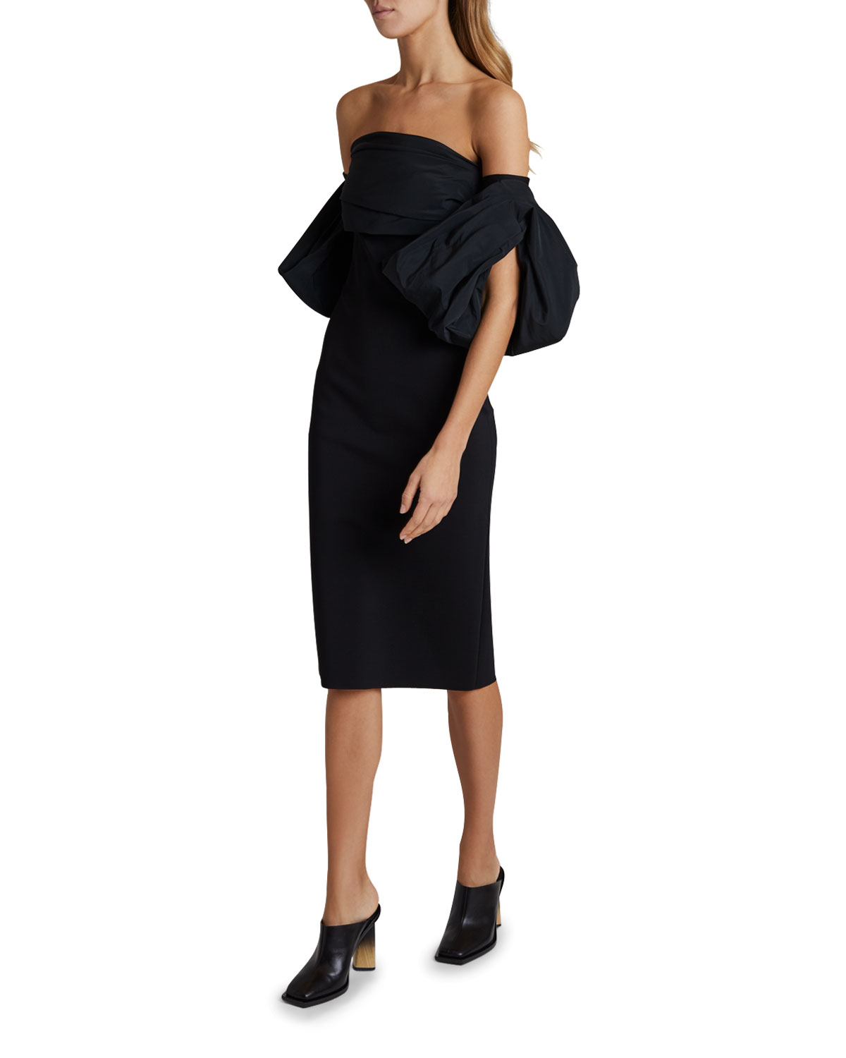 Givenchy Strapless Puff-Sleeve Midi Dress