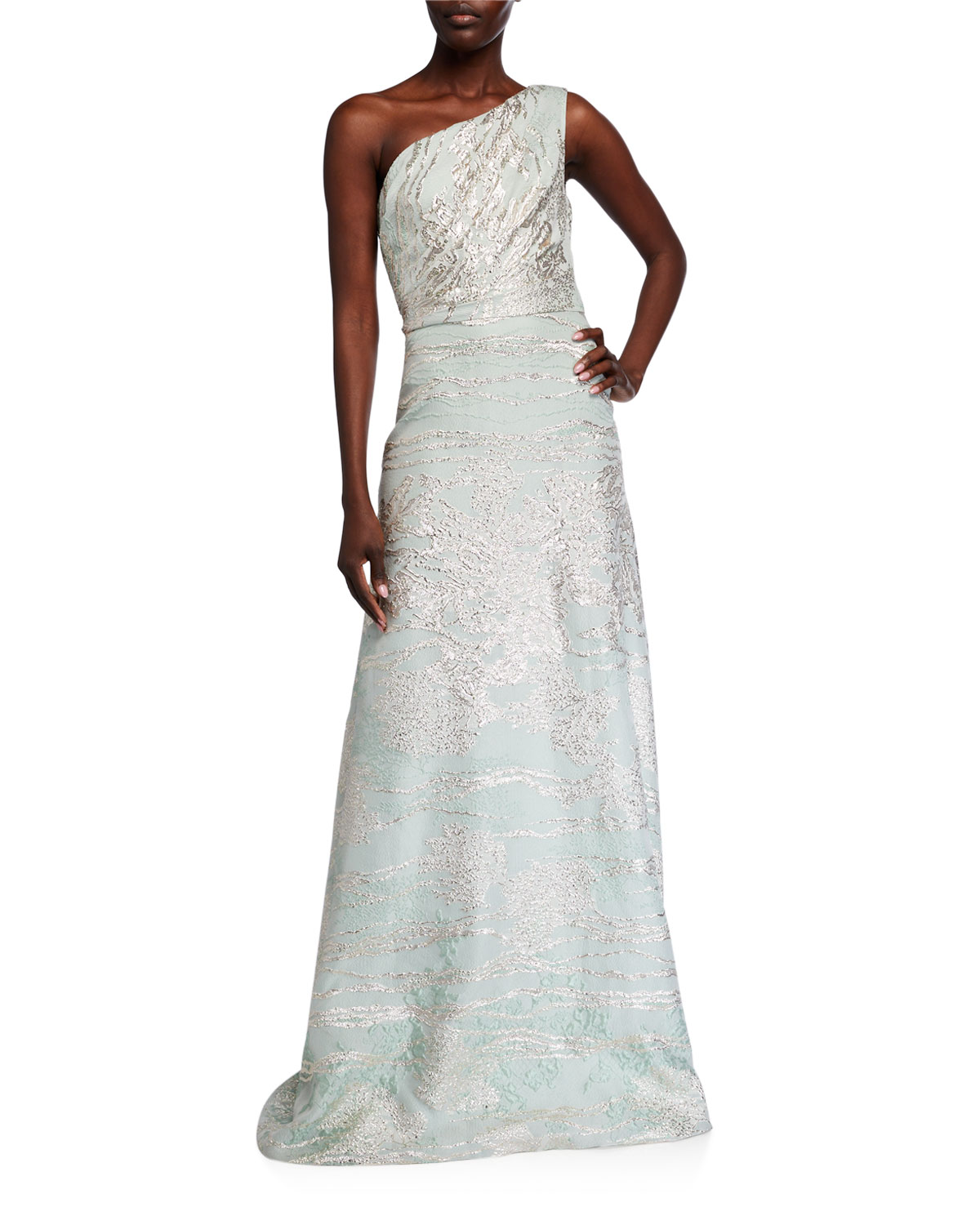 Theia Couture One-Shoulder Fil Coupe Gown