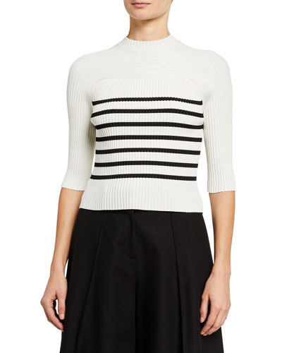 Quincy 1/2-Sleeve Ribbed Sweater