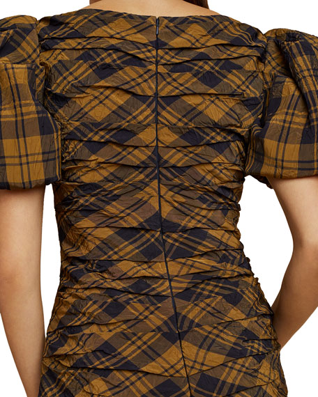 Khaite Shelly Plaid Puff-Sleeve Dress