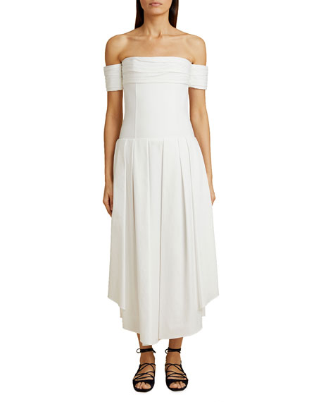 Khaite Amanda Long Off-the-Shoulder Dress