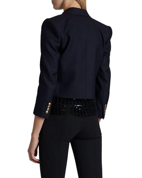 Saint Laurent Wool Bracelet-Sleeve Blazer