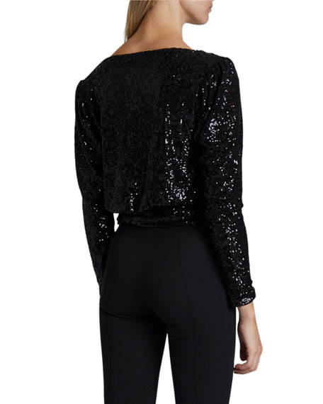 Image 2 of 3: Saint Laurent Sequined Deep V-Neck Shirt