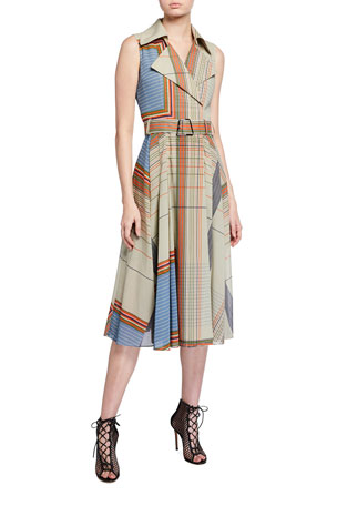 Akris Scarf-Print Trench Dress